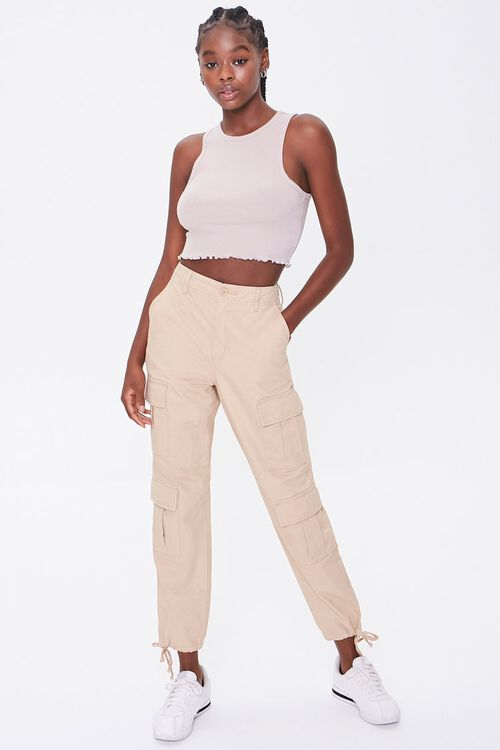 Ribbed Lettuce-Edge Cropped Tank Top, image 4