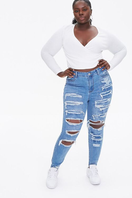 Plus Size Distressed Ankle Jeans, image 1