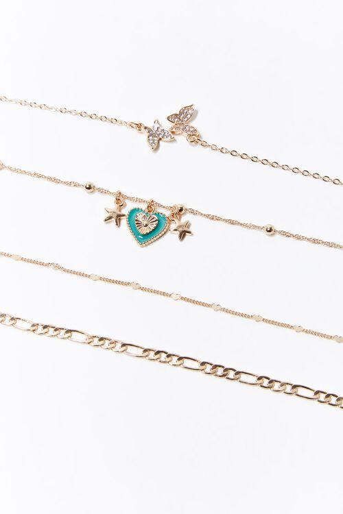 Heart & Butterfly Charm Bracelet Set, image 1