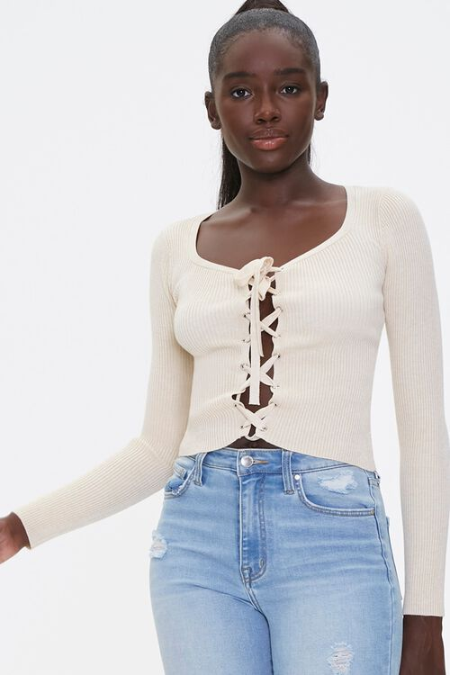 Sweater-Knit Lace-Up Top, image 1