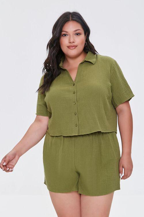 Plus Size Textured Shorts, image 6