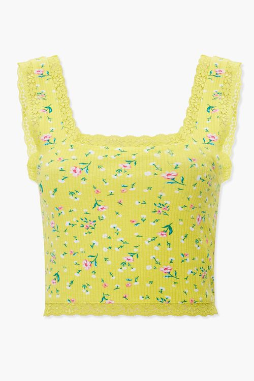Lace-Trim Floral Print Crop Top, image 1