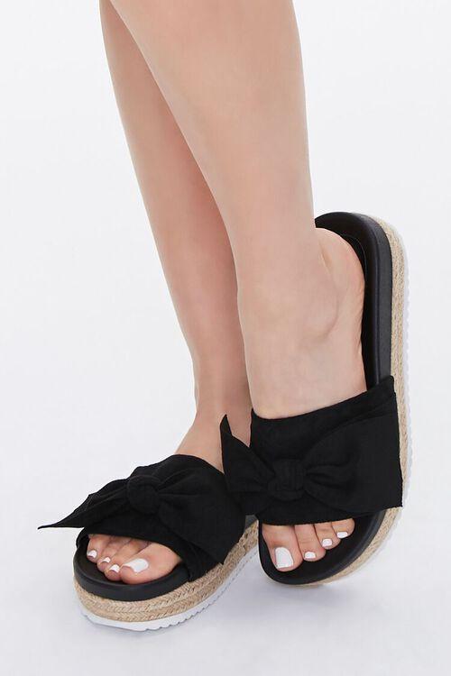 Faux Suede Bow Espadrille Sandals, image 1