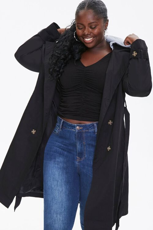 Plus Size Hooded Double-Breasted Trench Coat, image 1