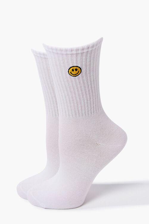 WHITE/MULTI Happy Face Crew Socks, image 1