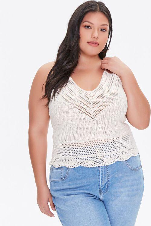 Plus Size Crochet Sweater-Knit Cami, image 1