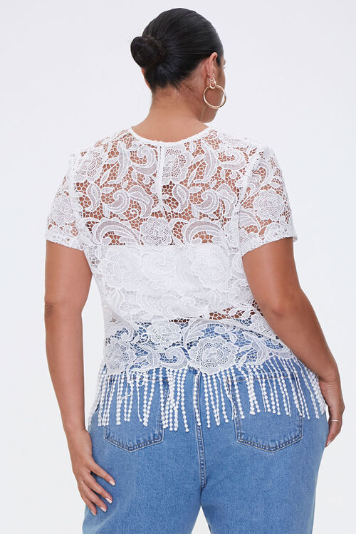 Plus Size Sheer Embroidered Lace Top, image 3