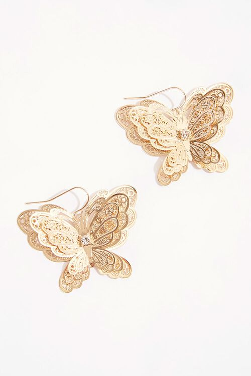 Filigree Butterfly Pendant Earrings, image 1