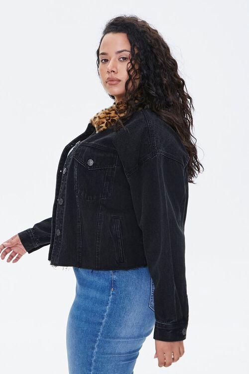 Plus Size Denim Leopard Collar Jacket, image 2