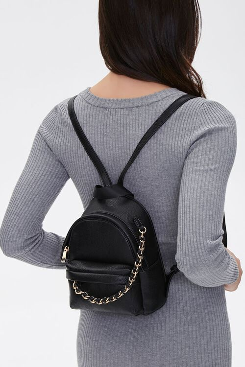 Mini Faux Leather Backpack, image 1
