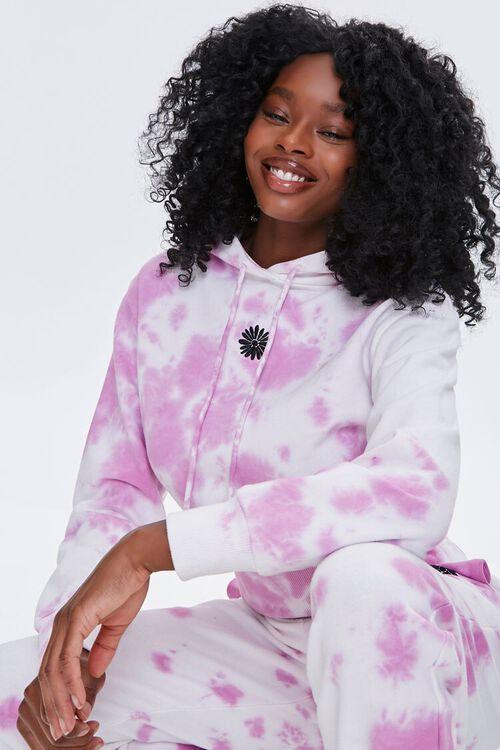WHITE/PINK Tie-Dye Floral Hoodie, image 1