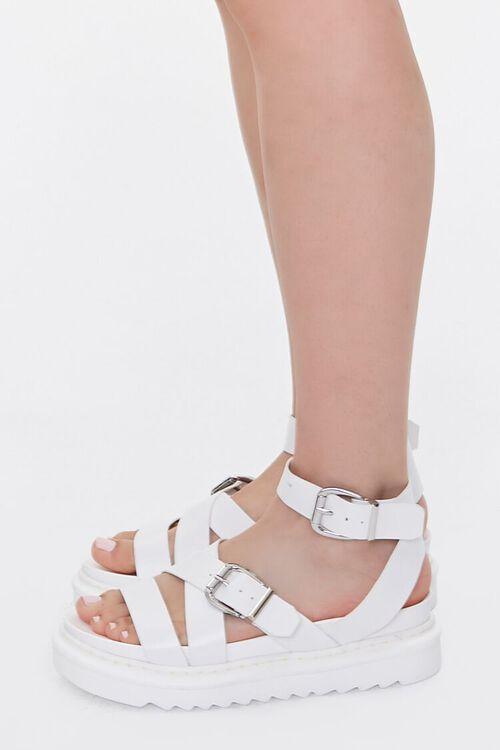 Faux Leather Dual-Buckle Flatform Sandals, image 2