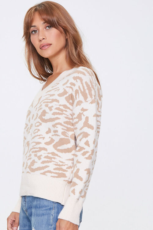 Animal Print V-Neck Sweater, image 2