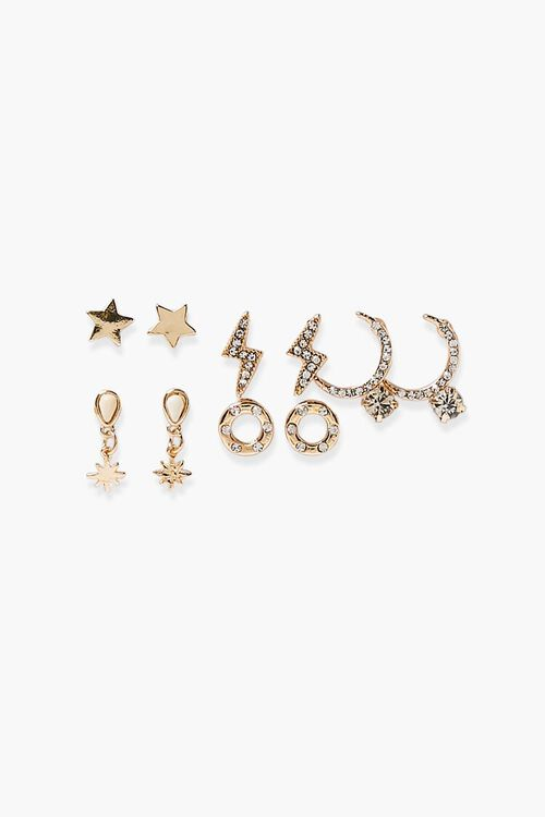 Thunderbolt & Star Charm Earring Set, image 2