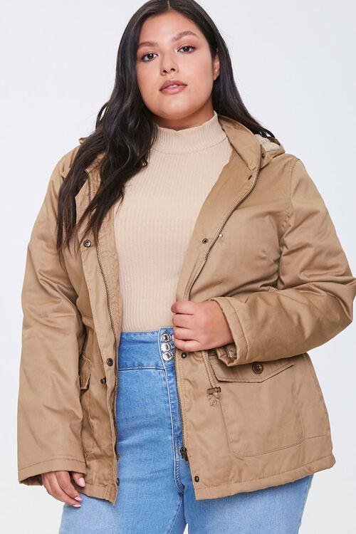 Plus Size Hooded Utility Jacket, image 1
