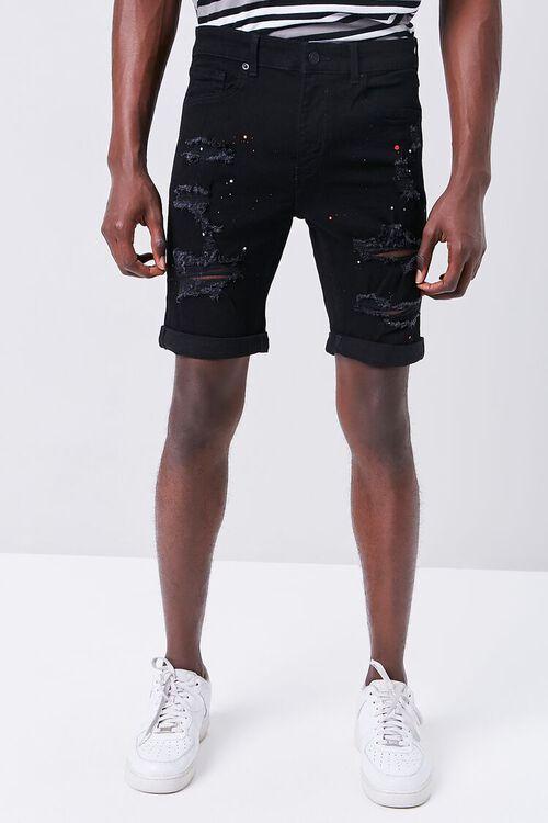 Paint Splatter Distressed Denim Shorts, image 2