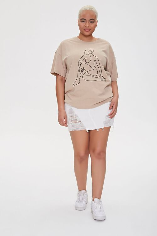 Plus Size Woman Line Art Graphic Tee, image 4