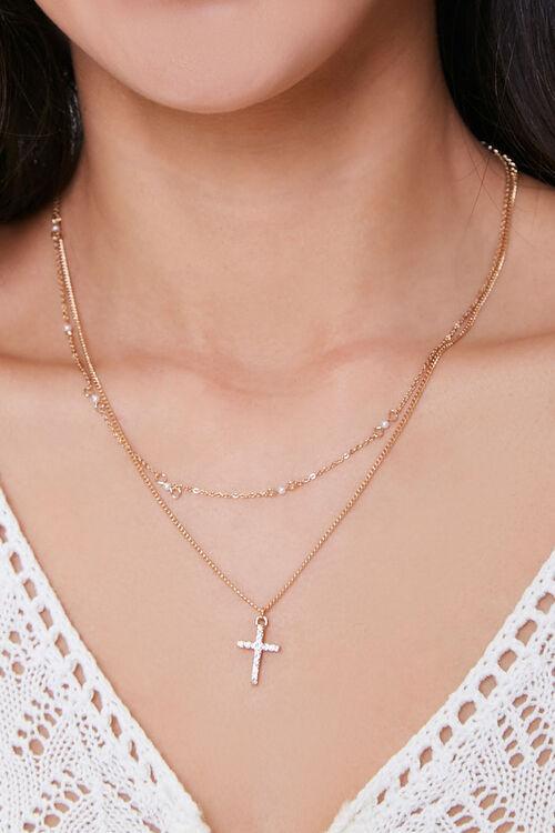 Rhinestone Cross Pendant Necklace Set, image 1