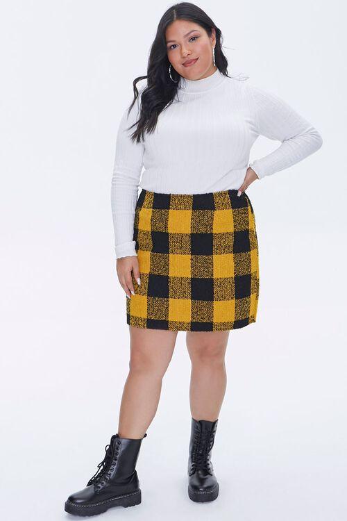 Plus Size Tweed Buffalo Plaid Skirt, image 5