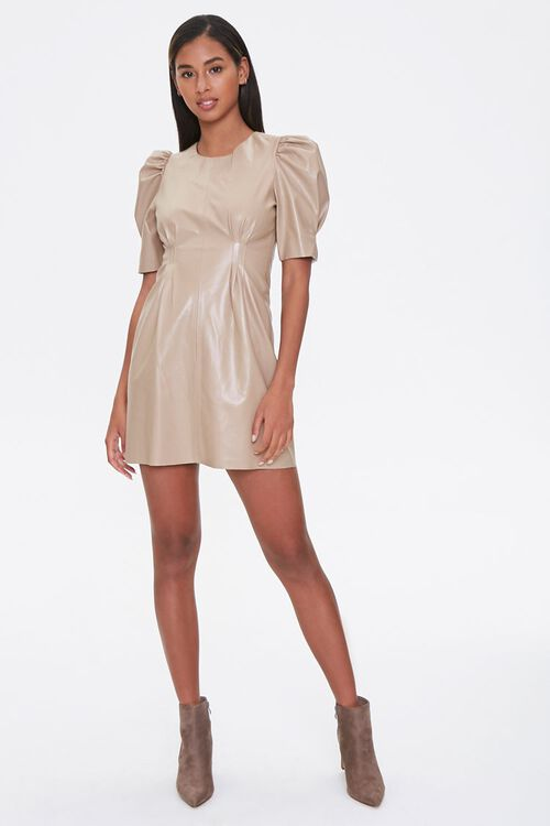 Faux Leather Puff-Sleeve Dress, image 4