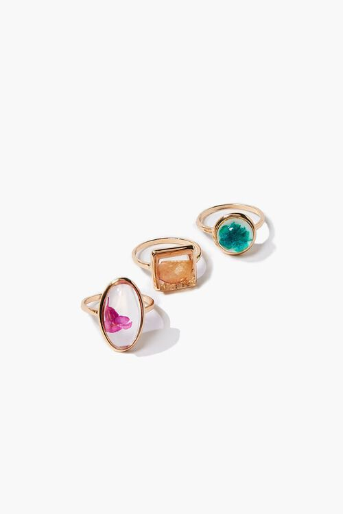 GOLD/MULTI Dried Flower Ring Set, image 1