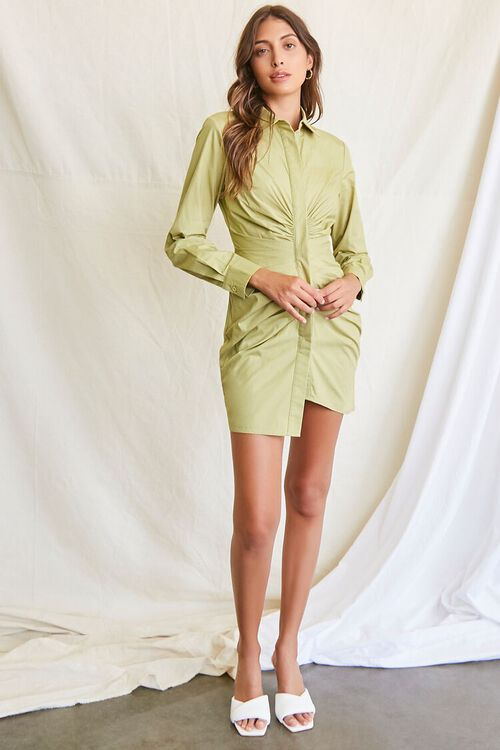 LIGHT OLIVE Ruched Shirt Mini Dress, image 4