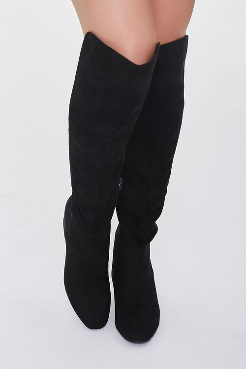 BLACK Faux Suede Knee-High Boots, image 4