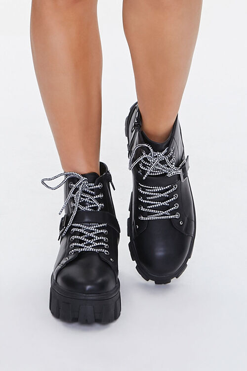 BLACK Lace-Up Strap Platform Booties, image 4