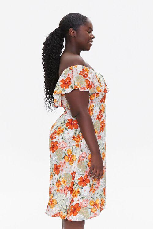 BLUE/MULTI Plus Size Floral Print Mini Dress, image 2
