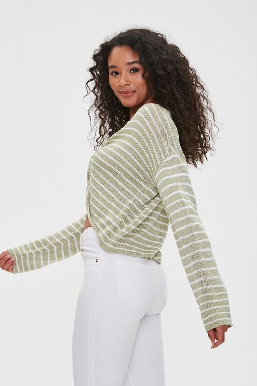 Striped Twist-Front Sweater, image 2