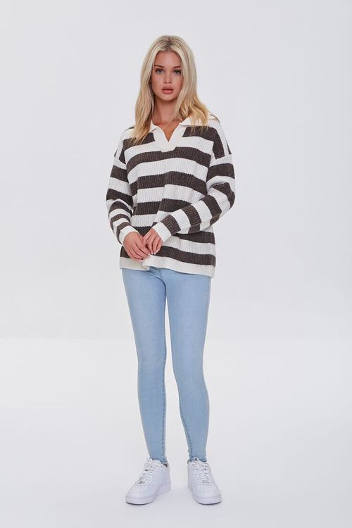 CREAM/BROWN Striped Sweater-Knit Pullover, image 4