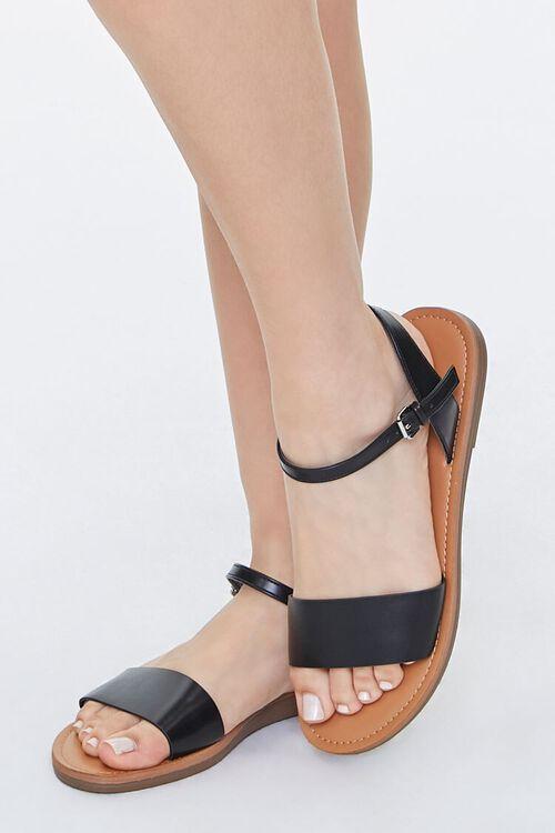 Faux Leather Flat Sandals, image 1