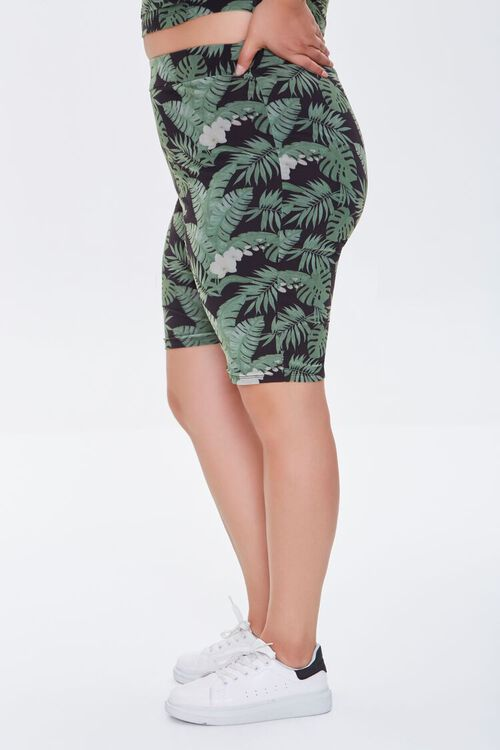 BLACK/MULTI Plus Size Tropical Leaf Biker Shorts, image 3