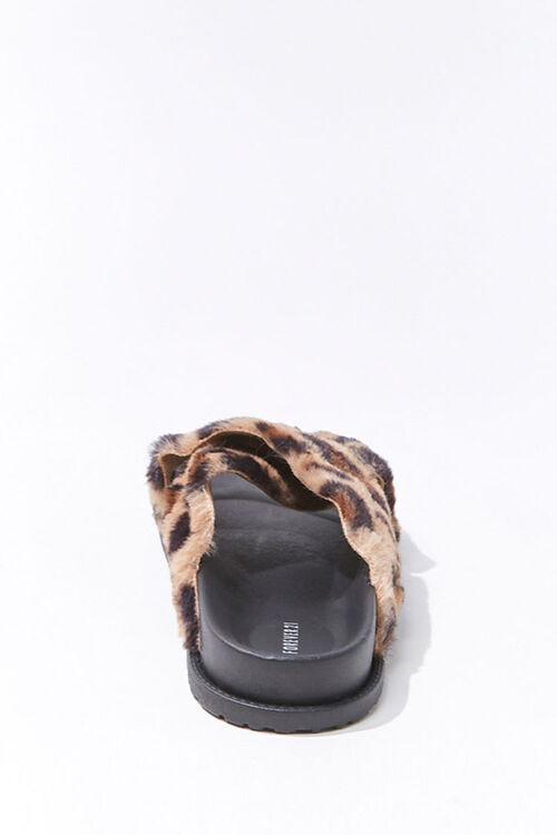 Plush Leopard Print Crisscross Slides, image 2