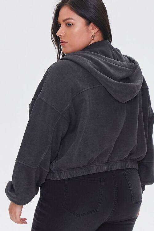 Plus Size Hooded Flap-Pocket Jacket, image 3