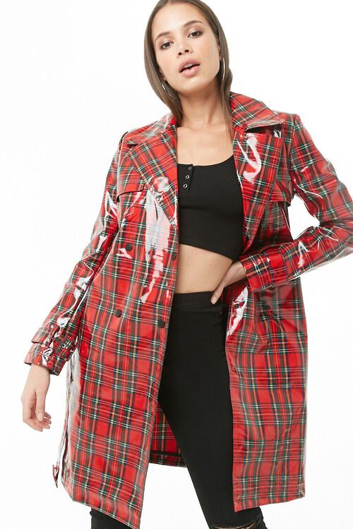 Plaid Print Trench Coat, image 1