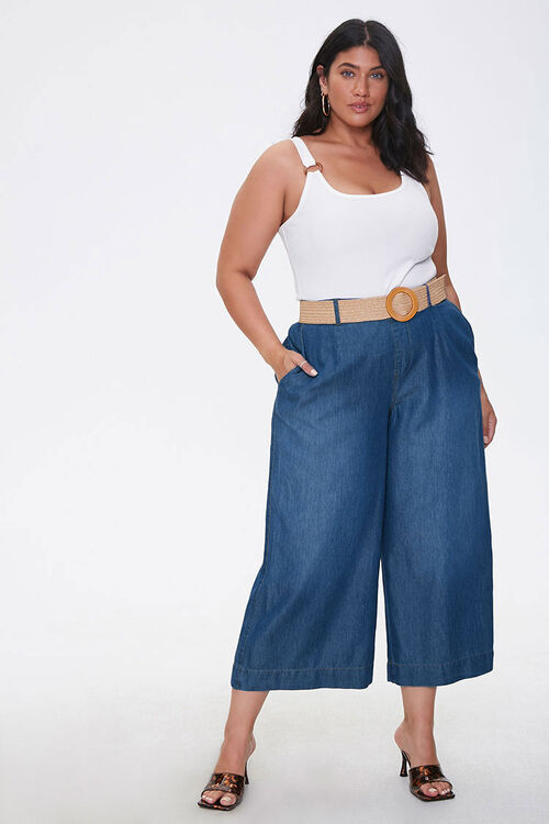 Plus Size Cropped Wide-Leg Jeans, image 1