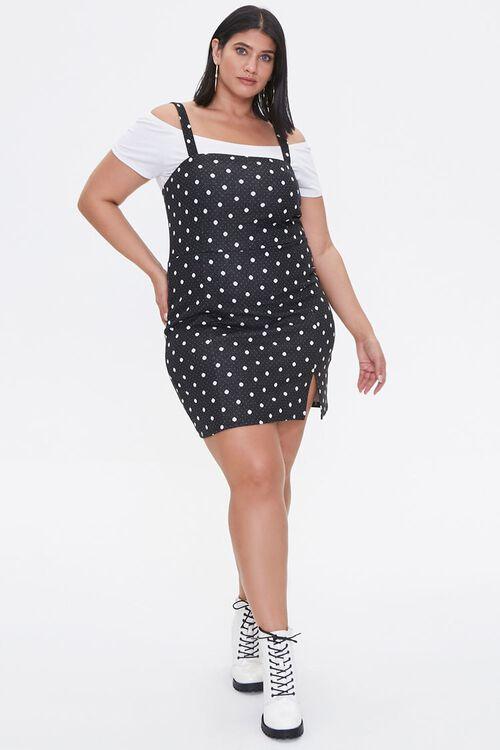 Plus Size Polka Dot Pinafore Dress, image 4