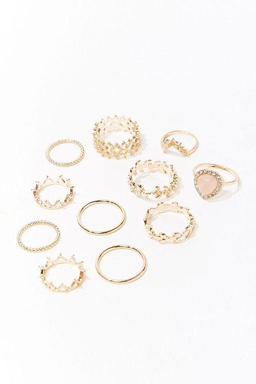GOLD/PINK Ornate Midi Ring Set, image 1