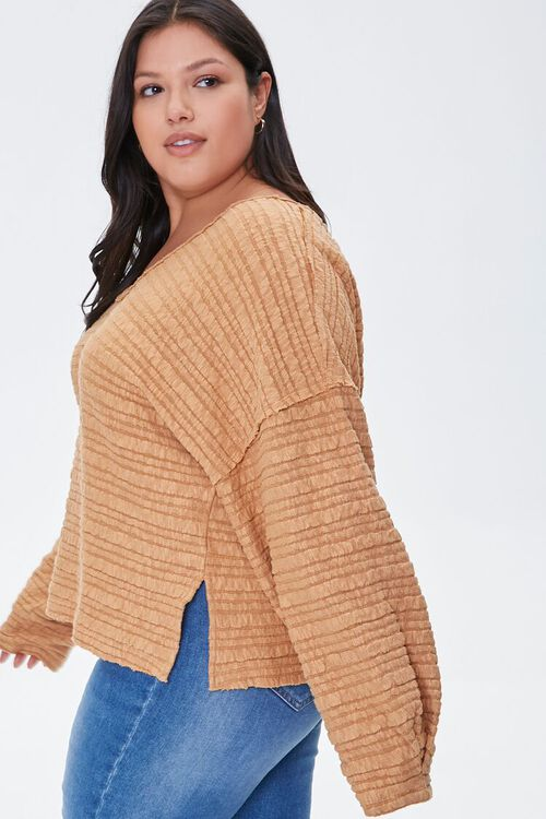 Plus Size Textured V-Neck Top, image 2