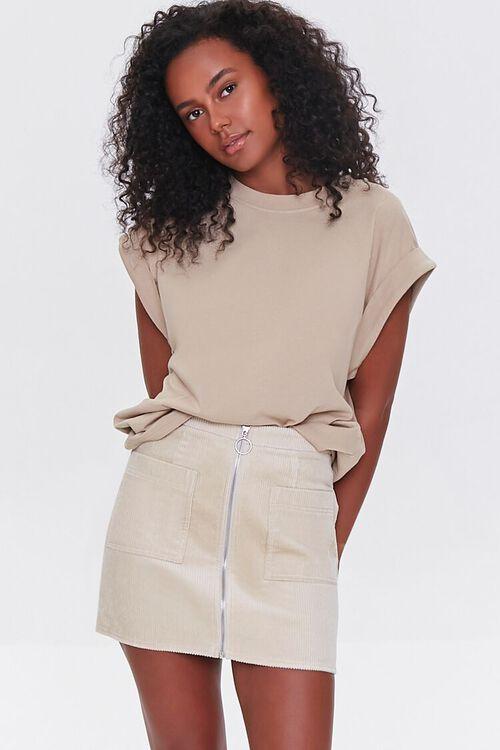 Corduroy Zip-Front Mini Skirt, image 1