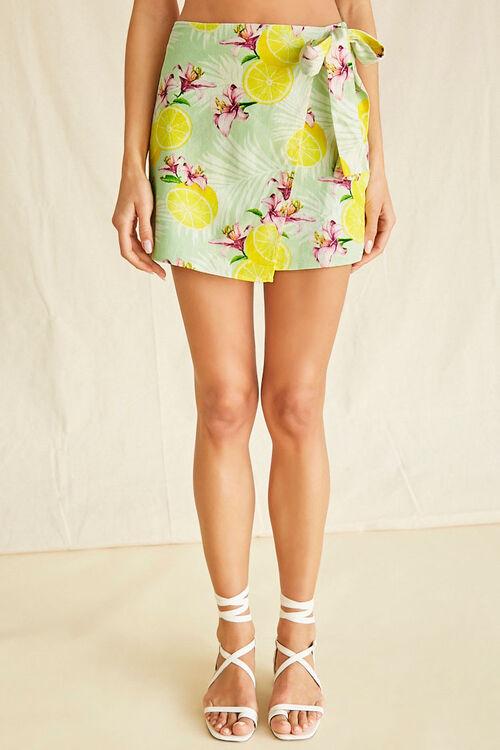 Tropical Lemon Print Mock Wrap Skirt, image 2