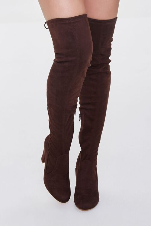 BROWN Faux Suede Over-the-Knee Boots, image 4