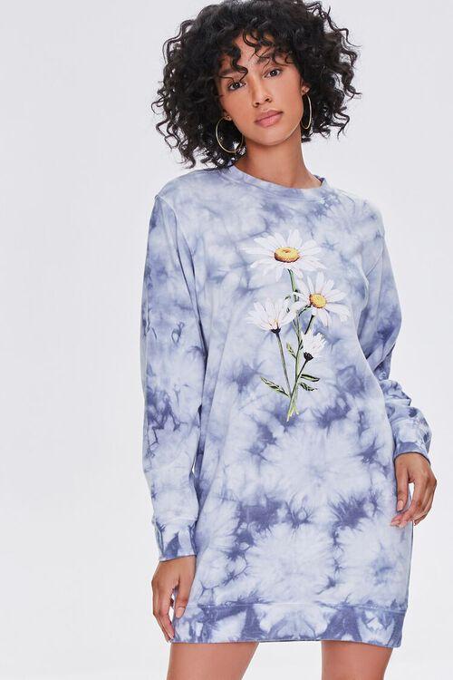 BLUE/MULTI Tie-Dye Floral Graphic Dress, image 1