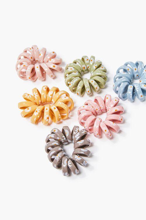 PINK/MULTI Spiral Floral Hair Tie Set, image 1