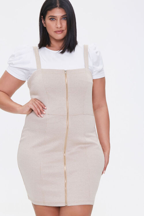 Plus Size Zippered Pinafore Dress, image 1