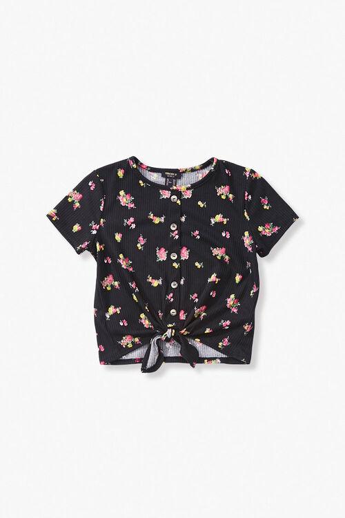 Girls Ribbed Floral Top (Kids), image 1