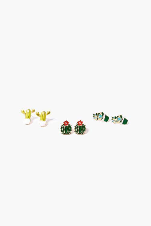 Cactus Charm Stud Earring Set, image 1