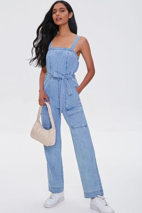Chambray Cargo Overall Jumpsuit, image 1