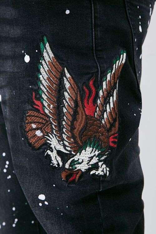 Embroidered Graphic Paint Splatter Jeans, image 6